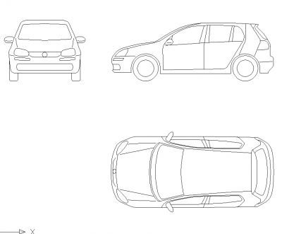 Cad Block of Volkswagen Golf in dwg