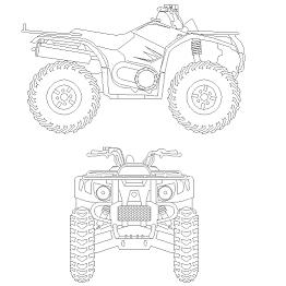 Cad Block of 4-hjuling – Quad in dwg