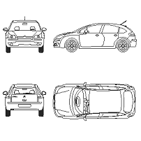 Cad Block of Citroen C4 in dwg