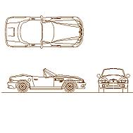Cad Block of BMW Z3, bil in dwg