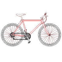 Cad Block of Mountain Bike in dwg