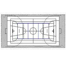 Cad Block of Basket Bane, volley, idrettshall in dwg