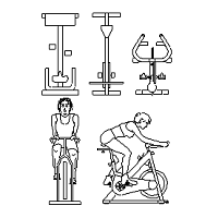 Cad Block of Spin Bikes, spinning sykkel in dwg